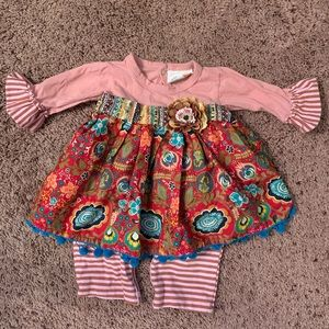 **Haute baby dress with attached leggings 3-6 mos